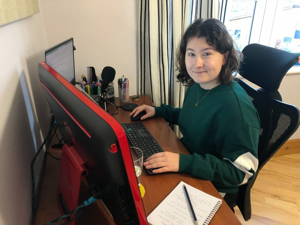 Cat Grimshaw at work - our new Digital Marketing Apprentice here at Cameo Digital